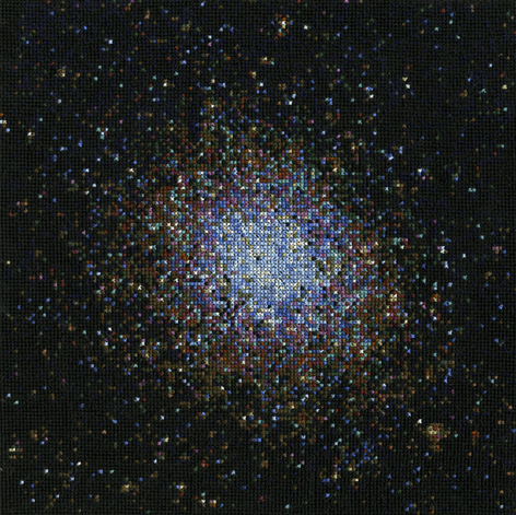 "Omega Centauri (scan) - 10x10"" cross-stitch of the largest globular cluster in the Milky Way"