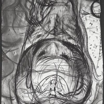 "In the MRI: Cof n and Chrysalis, charcoal on paper, 56"" x 30"", 2011."
